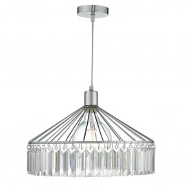 Rula Easy Fit Ceiling Pendant Shade in Polished Chrome Finish with Acrylic Glass