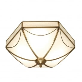 Russell 3 Light Flush Ceiling Fitting In Antique Brass Finish With Frosted Glass Shade