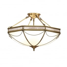 Russell 3 Light Semi Flush Ceiling Fitting In Antique Brass Finish With Frosted Glass Shade