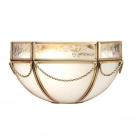 Russell Single Light Wall Fitting In Antique Brass Finish With Frosted Glass Shade