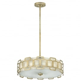Sabina 4 Light Duo Mount Semi Flush Convertible in Silver Leaf Finish with Distressed Gold Varnish