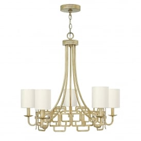 Sabina 5 Light Ceiling Chandelier in Silver Leaf Finish with Distressed Gold Varnish Complete with Silk Shades