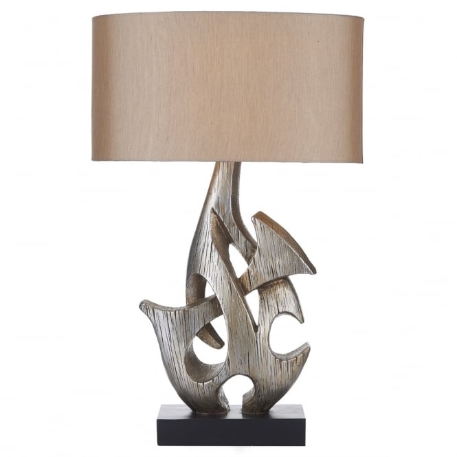Dar Lighting Sabre Single Light Table Lamp with Silver Coloured Wooden Base And Silver Faux Silk Shade