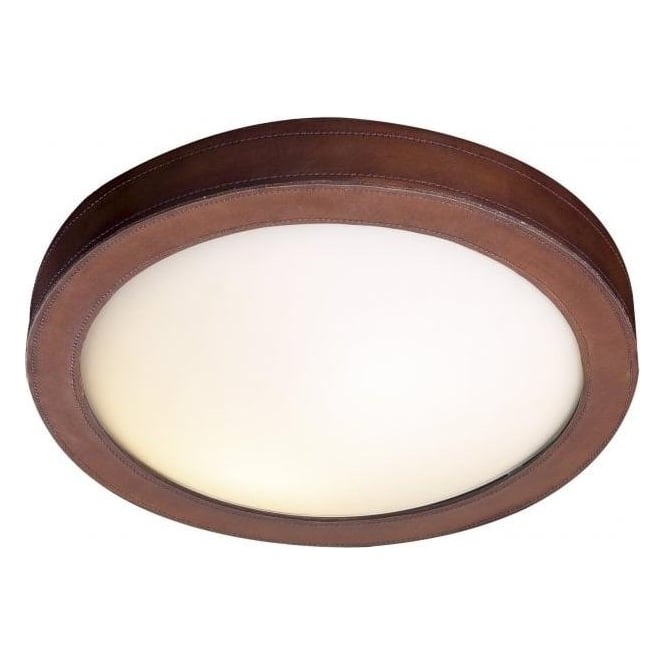 David Hunt Lighting Saddler 2 Light Flush Ceiling Fitting With Leather Effect Detail and White Glass