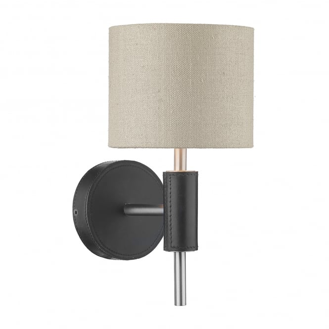 David Hunt Lighting Saddler Single Light Wall Fitting In Brushed Steel And Black Leather Effect