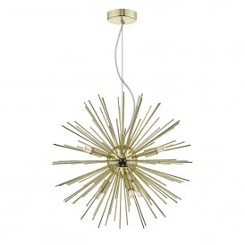 Sagan 6 Light Ceiling Pendant Fitting in Gold Finish