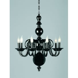 Salas 8 Light Ceiling Pendant in Black Crystal Finish