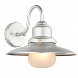 Salcombe Outdoor Single Light Wall Fitting in Hot Zinc Finish with Frosted Glass