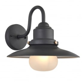 Endon Lighting Salcombe Outdoor Single Light Wall Fitting in Textured Grey Finish with Frosted Glass