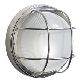 Salcombe Single Light Circular Outdoor Wall Fititng In Stainless Steel Finish