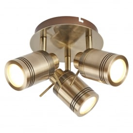Samson 3 Light Bathroom Spot Ceiling Fitting In Antique Brass Finish