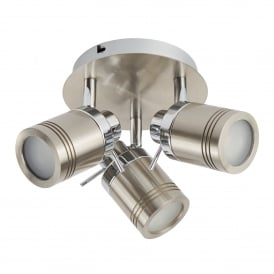 Samson 3 Light Bathroom Spot Ceiling Fitting In Satin Silver Finish