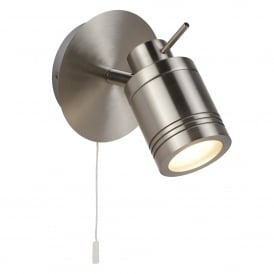 Samson Single Light Switched Bathroom Spot Fitting In Satin Silver Finish