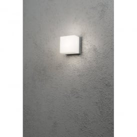 Sanremo Single Light LED Wall Fixture in Aluminium Finish with Opal Polycarbonate Glass