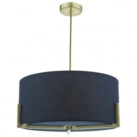 Santino 3 Light Ceiling Pendant in Gold Finish with Navy Shade and Matching Diffuser