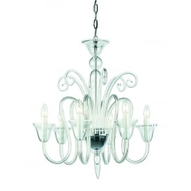Saskia 6 Light Ceiling Pendant In Polished Chrome And Clear Crystal Glass Finish