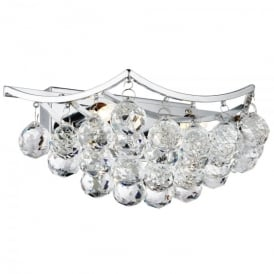 Sassari 2 Light Wall Bracket In Polished Chrome Finish With Crystal Ball Basket