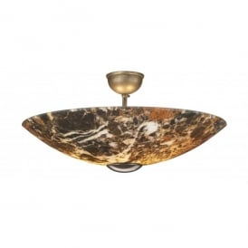Savoy 2 Light Dark Marble Effect Semi-Flush Fitting with Bronze Finish