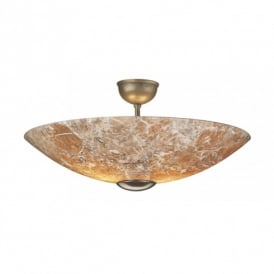 Savoy 2 Light Semi-Flush Ceiling Fitting In Marble And Bronze Finish