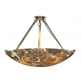 Savoy Large 3 Light Pendant with Dark Marble Effect Glass and Bronze Finish
