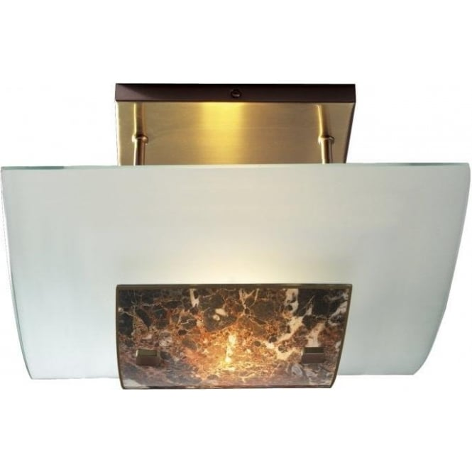 David Hunt Lighting Savoy Single Light Semi-Flush Ceiling Fitting with Frosted Glass and Dark Marble Effect