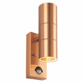 Palin 2 Light Outdoor Wall Fitting in Copper Finish With Clear Glass Lens And PIR Sensor