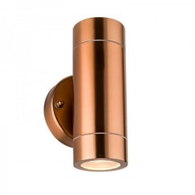 Palin 2 Light Outdoor Wall Fitting In Copper Finish With Clear Glass Lens
