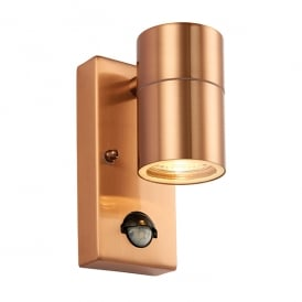 Palin Single Light Outdoor Wall Fitting in Copper Finish With Clear Glass Lens And PIR Sensor