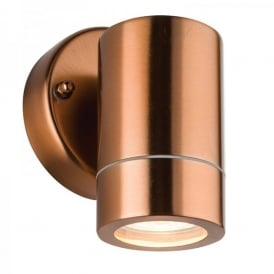 Palin Single Light Outdoor Wall Fitting In Copper Finish With Clear Glass Lens