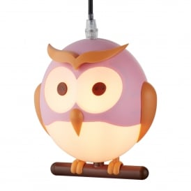 0113PI Novelty Children's Single Light Pink Owl Pendant