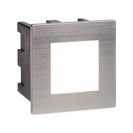 0761 Ankle LED Outdoor Recessed Square Step light In Stainless Steeel Finish With Opal White Diffuser
