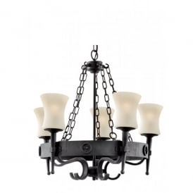 0815-5BK Cartwheel 5 Light Rustic Wrought Iron Ceiling Fitting with Scavo Glass Shades