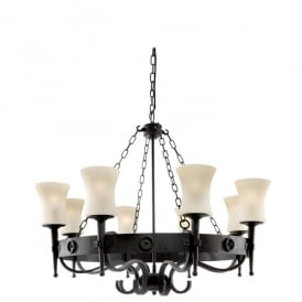 0818-8BK Cartwheel 8 Light Rustic Wrought Iron Ceiling Fitting with Scavo Glass Shades