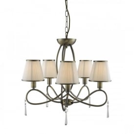 1035-5AB Simplicity 5 Light Ceiling Pendant In Antique Brass Finish And Cream Shades