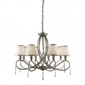 1038-8AB Simplicity 8 Light Ceiling Pendant In Antique Brass Finish And Cream Shades