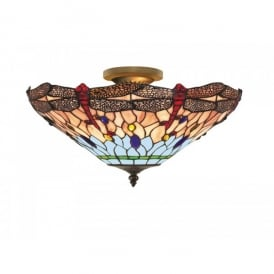 1289-16 Dragonfly Tiffany Uplighter Light Fitting