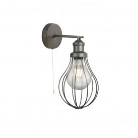 1380PW Balloon Cage Single Wall Light in Pewter Finish