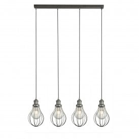 1384-4PW Balloon Cage 4 Light Ceiling Pendant in Pewter Finish