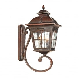 1571BR Pompeii Single Light Outdoor Upright Wall Lantern In Brown Stone Finish With Textured Glass
