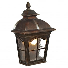 1576BR Pompeii Single Light Outdoor Flush Wall Fitting In Brown Stone Finish With Textured Glass
