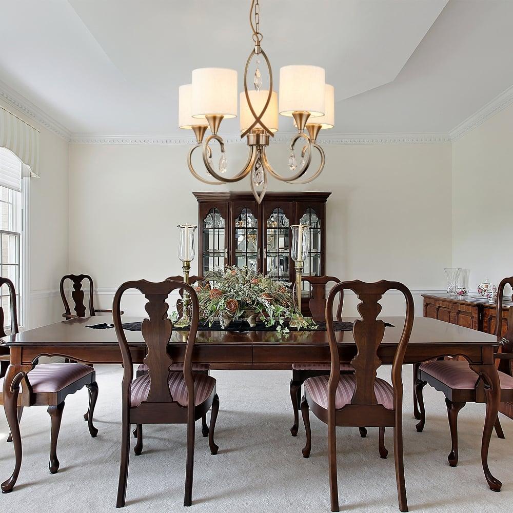 Admirable 1605 5Ab Alberto 5 Light Ceiling Pendant In Antique Brass Finish With Oatmeal Linen Shades Interior Design Ideas Tzicisoteloinfo
