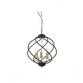 1803-3BK Flow 3 Light Ceiling Pendant in Black with Gold Detail