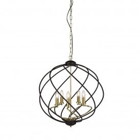 1805-5BK Flow 5 Light Ceiling Pendant in Black with Gold Detail