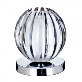 1811CL Single Light Touch Operated Table Lamp In Polished Chrome Finish With Clear Acrylic With Frosted Glass