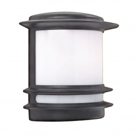 1812 Stroud Single Light Outdoor Wall Fitting In Black Finish With Opal Polycarbonate Diffuser
