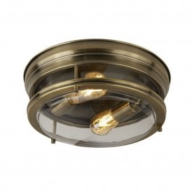 2 Light Bathroom Ceiling Fitting in Antique Brass Finish