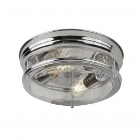 2 Light Bathroom Ceiling Fitting in Polished Chrome
