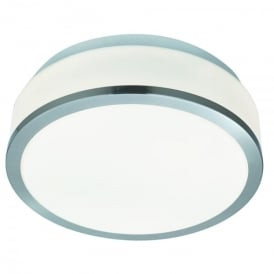 2 Light Flush Bathroom Ceiling Fitting With Opal Glass Shade & Satin Silver Trim