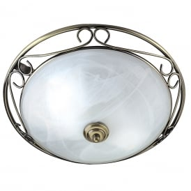 2 Light Flush Ceiling Fitting In Antique Brass Finish With Marble Glass Shade