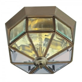 2 Light Flush Ceiling Fitting with Antique Brass Finish and Clear Glass Panels